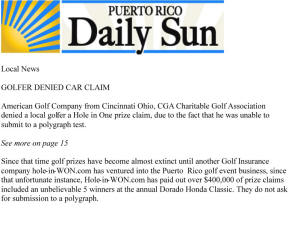 CGA Hole in One insurance fraud Charitable Golf Case for polygraph test
