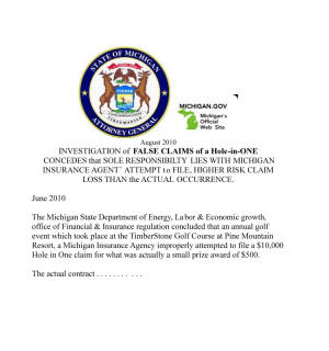 False Claim Michigan Insurance Agent Hole in One Insurance Scam Commissioner