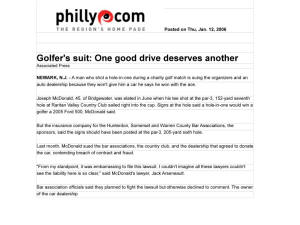 Hole in One Golf Lawsuit Lawyers Agreement Philadelphia news denied claim in NJ