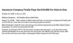 US Hole in One Case Lawsuit finally pays Florida Event claim