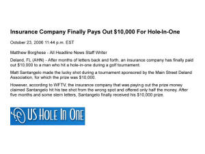 US Hole in One Insurance Prize not Awarded claim Unlicensed Golf One man Company