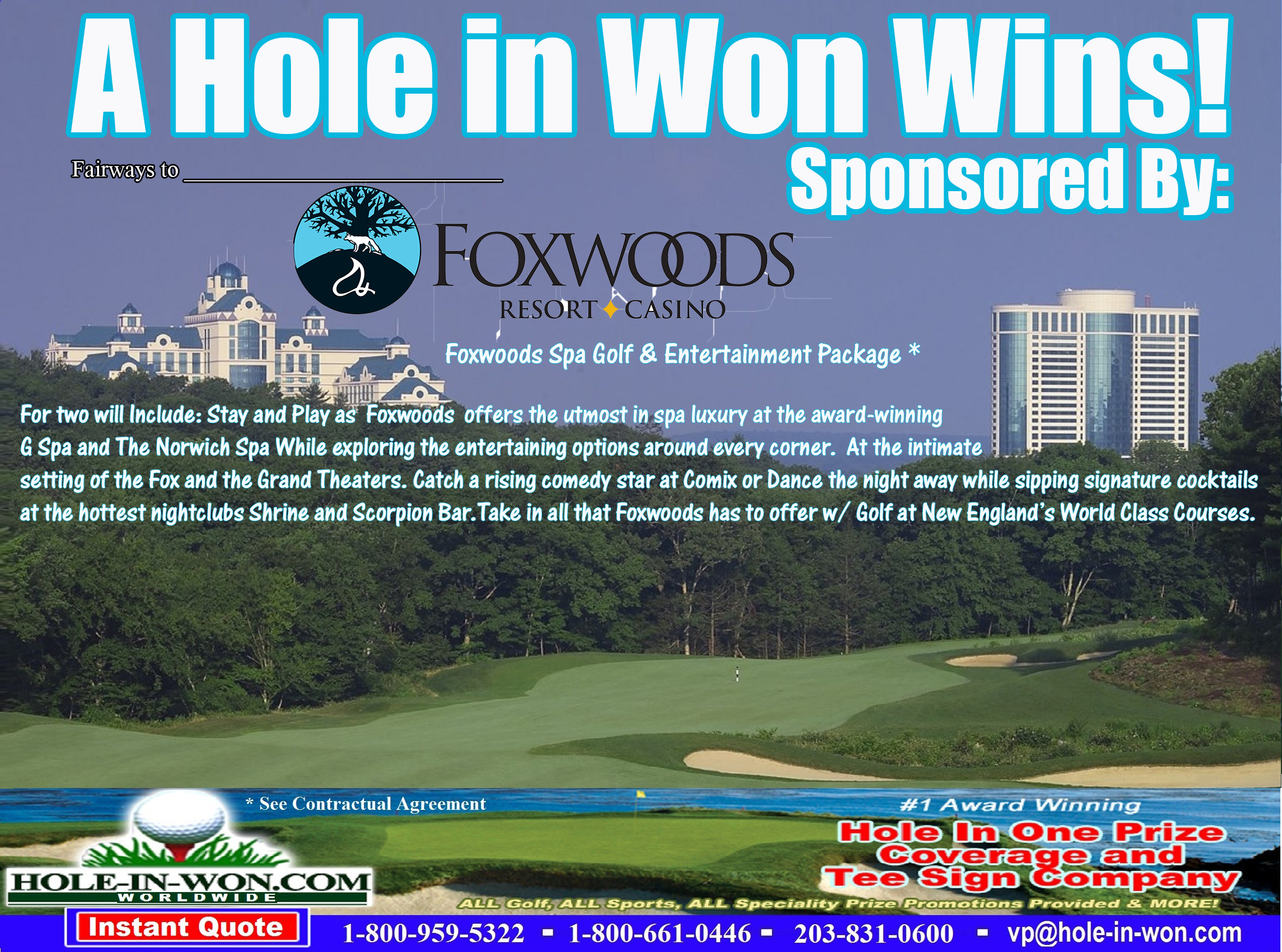 Foxwoods Casino Hole in One Golf Tee Sign
